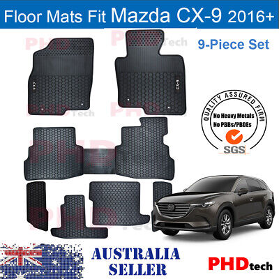 Mazda CX9 CX-9 2016-onwards Tailor Made All Weather Rubber Car Floor Mats 9 pic