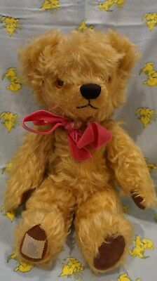 Vintage . CHAD VALLEY . Long Mohair Teddy . All Original . 37cm . Foot Tag