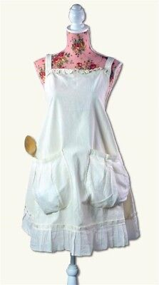 Victorian Trading Co Provencal Pinafore Apron White Large Pockets