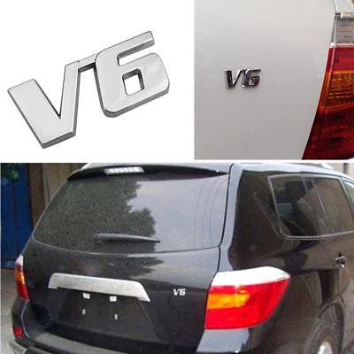 V6 Car Auto Tailgate Sticker Trunk Lid Emblem Badge Decal Decorate Chrome Metal