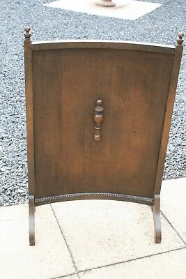 Edwardian Curved Wooden Fire Screen