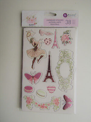 Prima Love Story Chipboard Stickers (38 pieces)