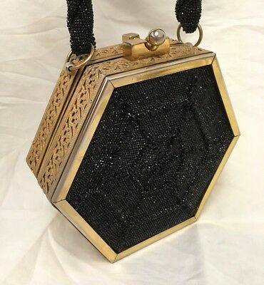 Fre-Mor Hexagon beaded purse in black with SPIDER WEB design to both sides!