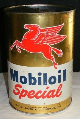 Mobiloil MOTOR OIL CAN 5 QT Special SOCONY MOBIL OIL CO. AUTHENTIC VTG 1950s