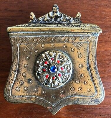 Antique Ottoman Cartridge Case BOX with Coral and Sapphire inlay