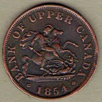 1854 Bank of Upper Canada One 1 Half 1/2 Penny Token Copper Canadian Coin
