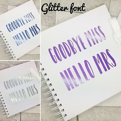 Hen Party Guest advice book, Goodbye Miss hello Mrs, GLITTER FONT, memory book