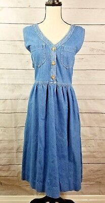 027010b3c2 Vtg Denim Overall Dress Jumper Blue Jean Sz XL 90s modest grunge button  pockets