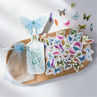 100X butterfly nature label stickers decor stationery stickers scrapbookin GWDE