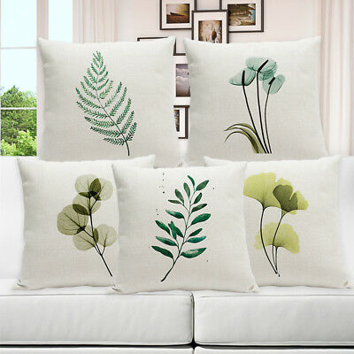 Simple Garden Leaf Cotton Linen Pillow Case Sofa Waist Cushion Cover Home Decor