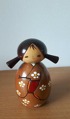 "Authentic Japanese Kokeshi - ""Haru"" ""Springtime"" Wooden Doll"