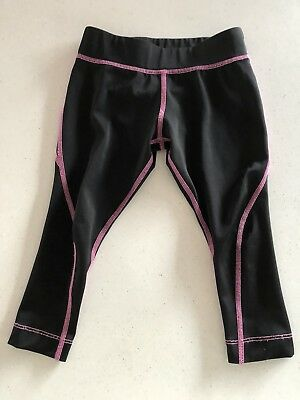 Girls Active & Co Black Leggings With Pink Detail. Size 4. Collect Or Post