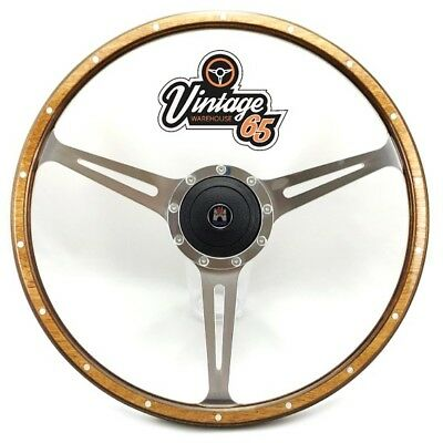 "Vw Transporter T3 T25 Camper 17"" Polished Wood Rim Steering Wheel & Boss Upgrade"