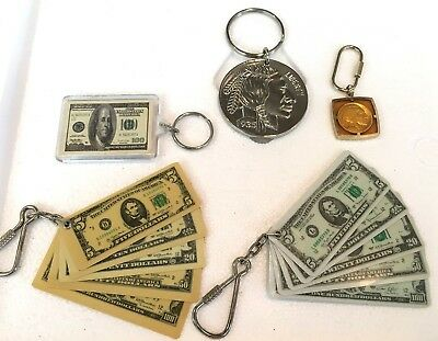 Lot 5 pc MONEY Keychains Bills Coins Large Nickel Real Buffalo Indian Head 100