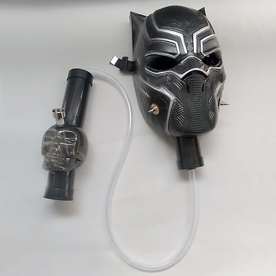 New Silicone Gas Mask Bong Black Panther Smoking Water Pipe With Flexible Pipe