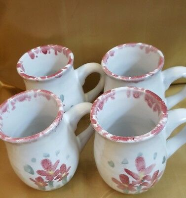 Nice matching set of 4 mugs by Bybee Pottery, Waco, Kentucky ,floral