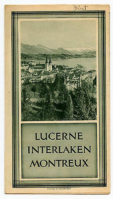 Lucerne Interlaken Montreux Switzerland Brochure and Panarama of The Alps