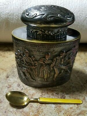 Antique Tea Caddy Repousse Webster & Son NY & Aksel Holmsen Sterling 925S Spoon
