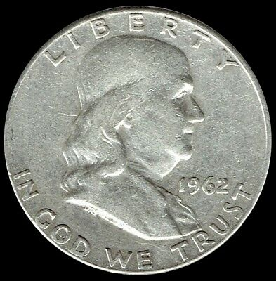 "A 1962 P Franklin Half Dollar 90% SILVER US Mint ""Average Circulation"""