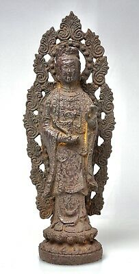 Ancient Japanese Iron Buddha Kannon Figure - Late Muromachi Period