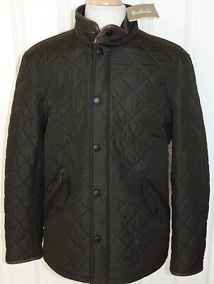 NWT Barbour Powell Quilted  Zip/Snap Jacket/Coat  Brown/Olive Large