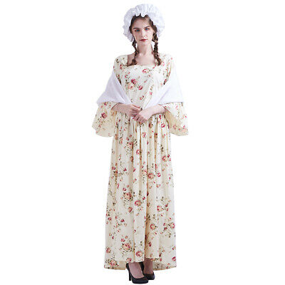 Woman  Colonial Pioneer Pilgrim Costumes Halloween Carnival Party Floral Dress