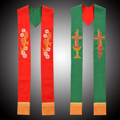 Chalice Embroidery Church Vestments Stole Priest Reversible Stole Fish Cross