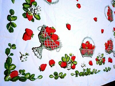 Vintage 30's 40's CALIFORNIA HAND PRINTS Strawberry basket tablecloth