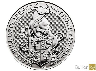 2018 2 oz Queen's Beasts Black Bull of Clarence 2 ounce Silver Bullion Coin unc: