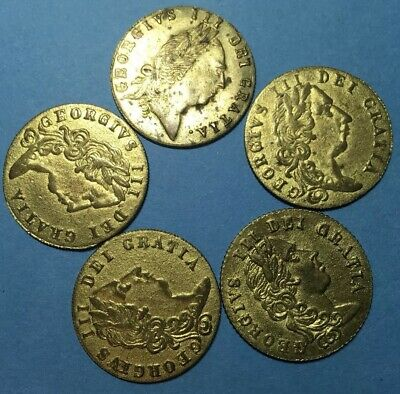 1797 Job Lot X5 George III Gaming Token Large Guinea Size Good Old Days