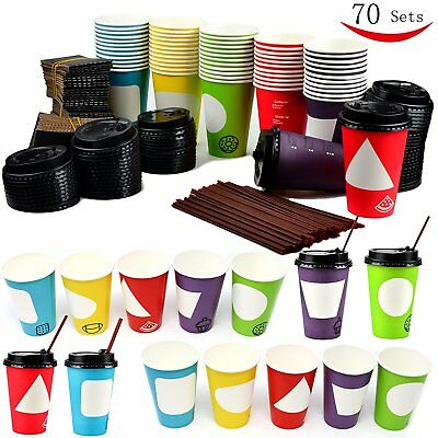 70 Coffee Cups with Lids - 12 oz Disposable Paper Coffee Cups with Lids - To Go