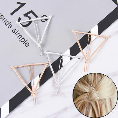 2x Fashion Minimalist Style Geometric Triangle Hairpin Hair Clip for Women