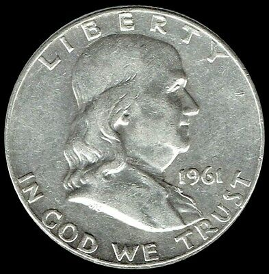 "A 1961 P Franklin Half Dollar 90% SILVER US Mint ""Average Circulation"""