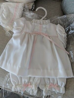 Christening Baptism Special Occasion Outfit for Newborn Baby /Girl satin