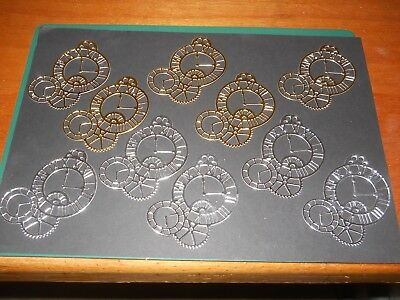 Job Lot Of 10 Hand Made Silver/gold Clock Design Die Cuts/fr/138