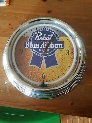 Pabst Blue Ribbon Beer Sign W Neon Clock