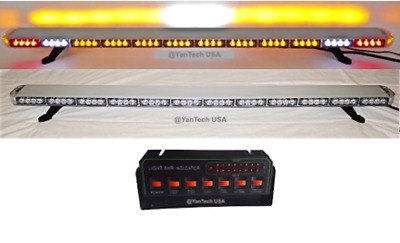 "60"" Amber LED Light Bar Tow Truck Roll Back Police w/ CARGO & BRAKE/TURN SIGNAL"