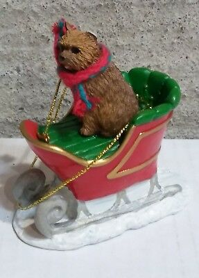 Victorian Trading Co 2 Dog in Sleigh Christmas Ornament Norwich Terrier 24D