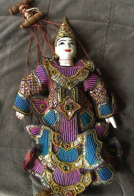 Burmese Asian Wooden Puppet Marionette Hand Painted Rare Elegant Finely Dressed