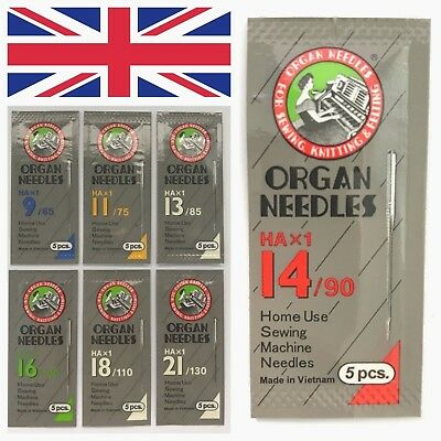 Organ Universal Domestic Sewing Machine Needles HAX1 130/705H 15X1 Brother UK