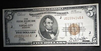 1929 Five Dollar $5 National Currency- J KC- Nice Note   #4146