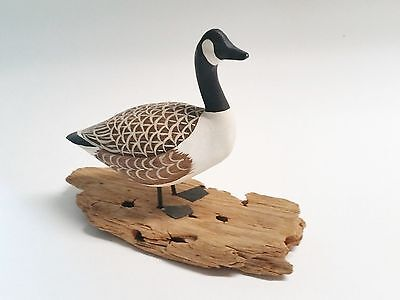 """Hand Carved Small Wooden Canadian Goose by Ercell Nickerson  - 4.5"""" by 6"""""""