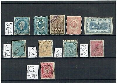 #893 Norway Norge SKILLING values to 8sk & Local Posts on card c£a bit (10)