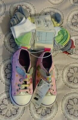 SHOPKINS SHOES WITH ALL THE GLITTER SHE WILL LOVE THEM. Size 8 AND SOCKS 9 pairs