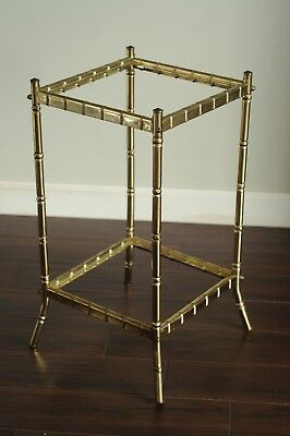 Hollywood Regency Faux Brass Bamboo & Glass 2 Tier End Table-MCM Brass Gold