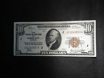 1929 $10 National Currency- J Kansas City- UNC   #5853