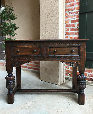 Small Antique English Carved Oak Sofa Hall Table Sideboard Tudor Jacobean