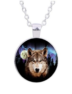 """Wolf Moon 20"""" Silver Tone Chain Glass Cabochon Pendant Necklace"""