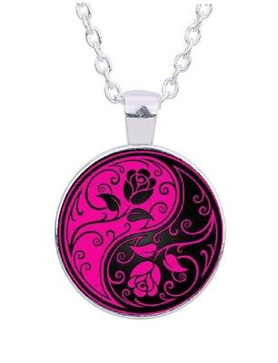 """Yin Yang Roses Flowers 20"""" Silver Tone Chain Glass Cabochon Pendant Necklace"""