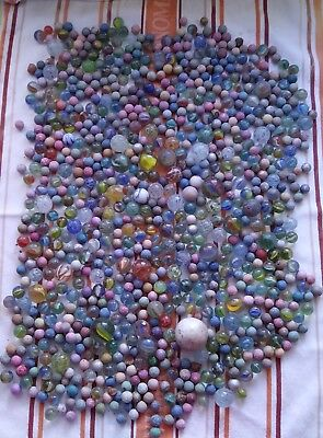 Vintage Marbles-mixed collection handmade clay and glass, small to toe breaker.